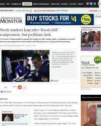Stock markets leap after fiscal cliff compromise but: Christian Science Monitor